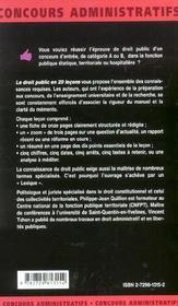 Le Droit Public En 20 Lecons Les Mementos Concours Administratifs Connaissances Lexique Juridique - 4ème de couverture - Format classique