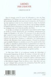 Liberateur Par L Amour - Christologie 3 - 4ème de couverture - Format classique