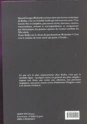 Franz Kafka Entre Les Lignes - 4ème de couverture - Format classique