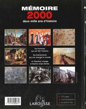 Memoire 2000 - 4ème de couverture - Format classique