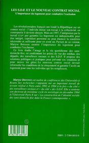 Les Sdf Et Le Nouveau Contrat Social - 4ème de couverture - Format classique