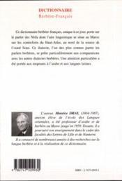 Dictionnaire berbere-francais - dialecte des ntifa - 4ème de couverture - Format classique