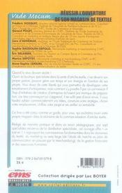 Réussir l'ouverture de son magasin textile ; guide pratique de marketing et de gestion - 4ème de couverture - Format classique