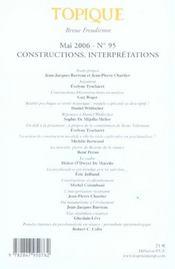 Topique n 95 constructions interpretations - 4ème de couverture - Format classique