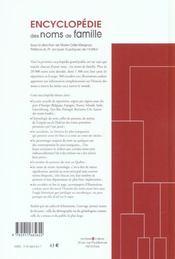 Encyclopédie des noms de famille - 4ème de couverture - Format classique