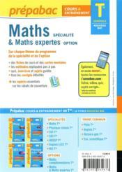 Prépabac cours & entraînement ; maths spécialité & maths expertes ; terminale générale - 4ème de couverture - Format classique