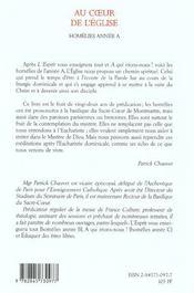 Au Coeur De L'Eglise- Homelies Annee A - 4ème de couverture - Format classique