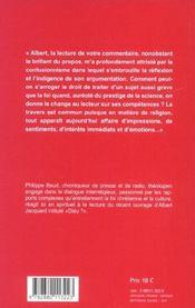 Albert ? contre-chant au credo d'Albert Jacquard - 4ème de couverture - Format classique
