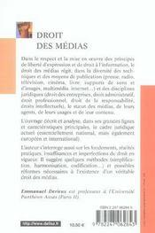 Droit des médias (3e édition) - 4ème de couverture - Format classique
