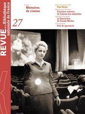 Revue Bnf T.27 ; Mémoires De Cinéma - Intérieur - Format classique