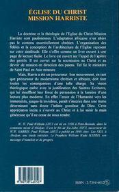 Eglise Du Christ Mission Harriste ; Elements Theologiques Du Harrisme Paulinien - 4ème de couverture - Format classique