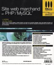Site web marchand en php/mysql - 4ème de couverture - Format classique