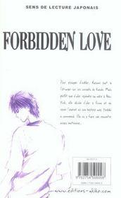 Forbidden love t.5 - 4ème de couverture - Format classique