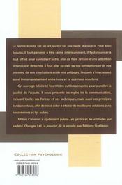 Savoir Ecouter - 4ème de couverture - Format classique