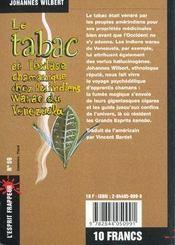 Le Tabac Et L'Extase Chamanique Chez Les Indiens Warao Du Venezuela - 4ème de couverture - Format classique