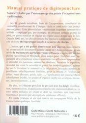 Manuel pratique de digitopuncture ; santé et vitalité par l'automassage des points d'acupuncture traditionnels - 4ème de couverture - Format classique