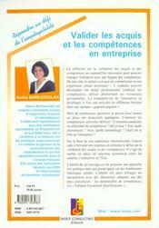 Valider les acquis et les competences en entreprise - 4ème de couverture - Format classique