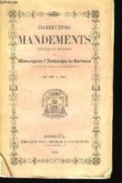Instructions, Mandements, Lettres et Discours de Mgr l'Archevêque de Bordeaux. De 1837 à 1850 - Couverture - Format classique