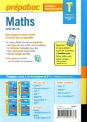 Prépabac cours & entraînement ; maths, spécialité ; terminale générale (édition 2020/2021) - 4ème de couverture - Format classique