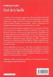 Droit De La Famille - 2e Ed - 4ème de couverture - Format classique