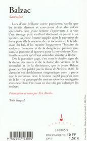 Sarrasine - 4ème de couverture - Format classique