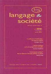 REVUE LANGAGE ET SOCIETE T.100 ; Juin 2002 - Intérieur - Format classique