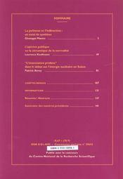 REVUE LANGAGE ET SOCIETE T.100 ; Juin 2002 - 4ème de couverture - Format classique