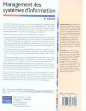 Management des systèmes d'information (9e édition) - 4ème de couverture - Format classique