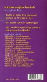 Grammaire anglaise ; les règles de base ; terminale - 4ème de couverture - Format classique