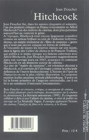 Alfred Hitchcock - 4ème de couverture - Format classique