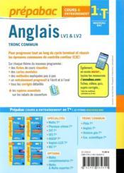 Prépabac cours & entraînement ; anglais, LV1 & LV2, tronc commune ; 1re, terminale - 4ème de couverture - Format classique
