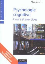 Psychologie cognitive ; cours et exercices - Intérieur - Format classique