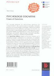 Psychologie cognitive ; cours et exercices - 4ème de couverture - Format classique