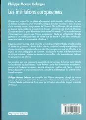 Les institutions europeennes ; 5e edition - 4ème de couverture - Format classique