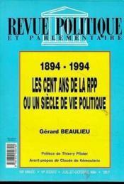 Revue Politique Et Parlementaire-100 Ans De La Rpp - Couverture - Format classique