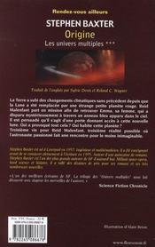 Les univers multiples t.3 ; origine - 4ème de couverture - Format classique