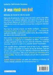 Je Veux Reussir Mon Droit ; 4e Edition 2001 - 4ème de couverture - Format classique
