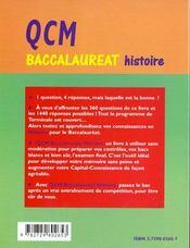Qcm Baccalaureat Histoire Tout Le Programme En 360 Questions A Choix Multiples - 4ème de couverture - Format classique