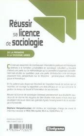 Réussir sa licence de sociologie ; de la première à la troisième année - 4ème de couverture - Format classique