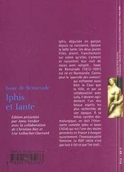 Iphis et Iante - 4ème de couverture - Format classique