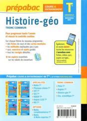 Prépabac cours & entraînement ; histoire-géographie, tronc commun ; terminale générale - 4ème de couverture - Format classique