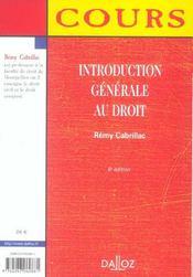 Introduction générale au droit - 4ème de couverture - Format classique