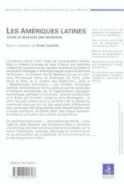 Les Amériques latines ; unité et diversité des territoires - 4ème de couverture - Format classique