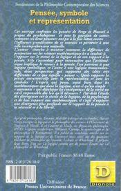 Pensee, Symbole Et Representation ; Logique Et Psychologie Chez Frege Et Husserl - 4ème de couverture - Format classique