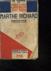Marthe Richard. Espione Au Service De La France. - Couverture - Format classique
