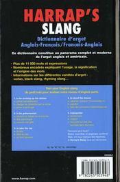 Harrap'S Slang Nte Dictionnaire A?Glais Francais - 4ème de couverture - Format classique