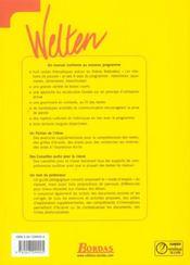 WELTEN ; allemand ; 1ere ; manuel de l'élève (édition 2004) - 4ème de couverture - Format classique
