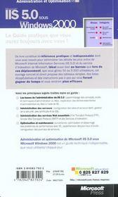 Guide De L'Administrateur ; Administration Et Optimisation ; Microsoft Iis 5.0 Sous Windows 2000 - 4ème de couverture - Format classique