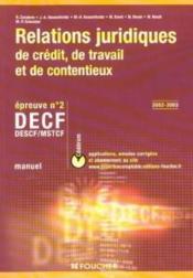 Relations Juridiques De Credit Decf Ep N 2 Manuel - Couverture - Format classique