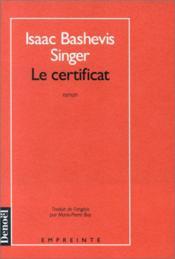 Le certificat - Couverture - Format classique